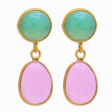 Opal Rose Chalcedony Gemstone 925 Sterling Silver Gold Plated Stud Earrings