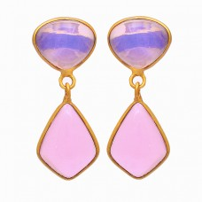 925 Sterling Silver Moonstone Rose Chalcedony Gemstone Gold Plated Earrings