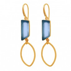 Blue Quartz Rectangle Shape Gemstone 925 Sterling Silver Gold Plated Earrings