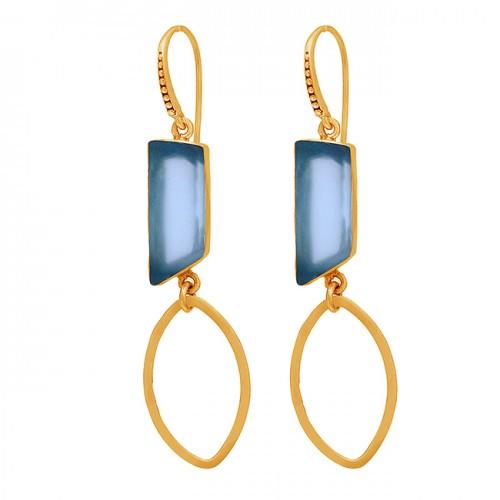 Blue Quartz Rectangle Shape Gemstone 925 Sterling Silver Gold Plated Earrings