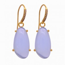 Fancy Shape Opal Gemstone 925 Sterling Silver Gold Plated Dangle Earrings