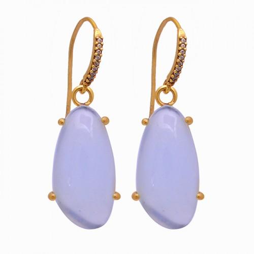 Fancy Shape Opal Gemstone 925 Sterling Silver Gold Plated Dangle Earrings
