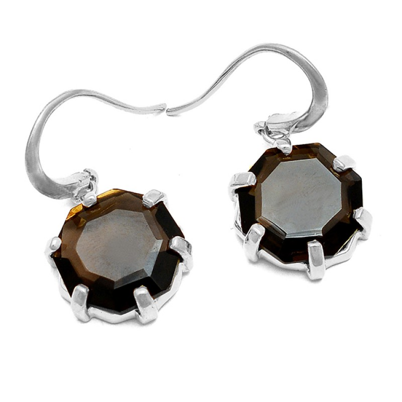Smoky Quartz Hexagon Gemstone Prong Setting Handmade Sterling Silver Gold Plated Dangle Earrings