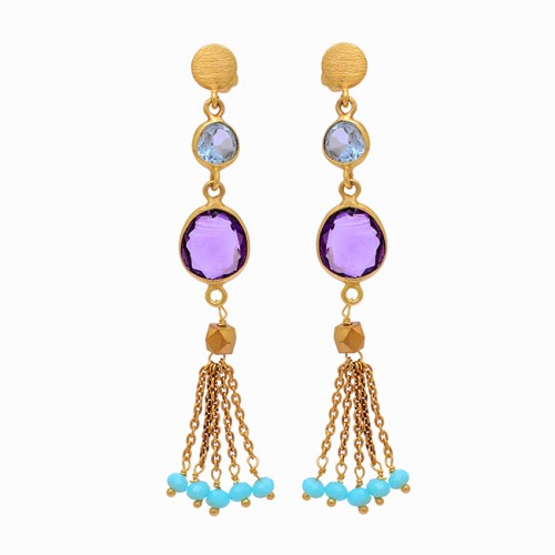 Blue Topaz Amethyst Chalcedony Gemstone 925 Silver Gold Plated Earrings