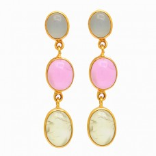 925 Sterling Silver Chalcedony Gemstone Gold Plated Dangle Stud Earrings