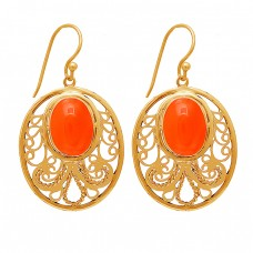 Oval Shape Carnelian Gemstone 925 Sterling Silver Gold Plated Dangle Earrings