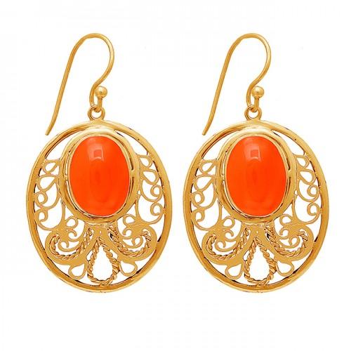 Oval Shape Carnelian Gemstone 925 Sterling Silver Gold Plated Dangle Earrings