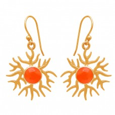 Round Shape Carnelian Gemstone 925 Sterling Silver Gold Plated Earrings