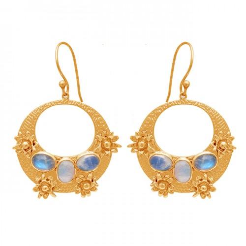 Oval Shape Rainbow Moon Stone 925 Sterling Silver Gold Plated Dangle Earrings