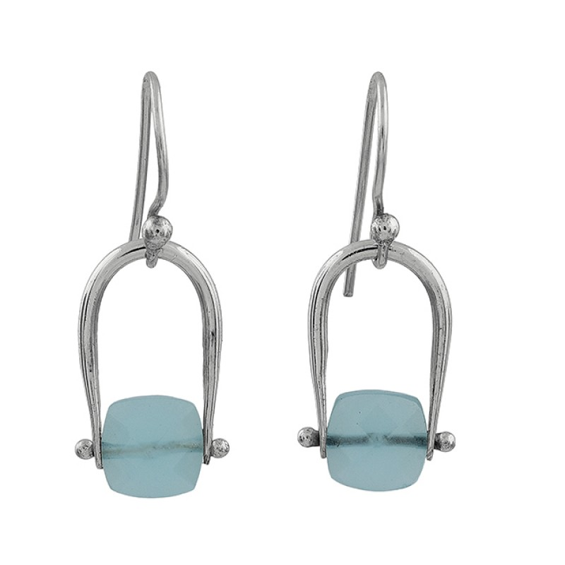 Aqua Chalcedony Square Shape Gemstone 925 Silver Gold Plated Dangle Earrings