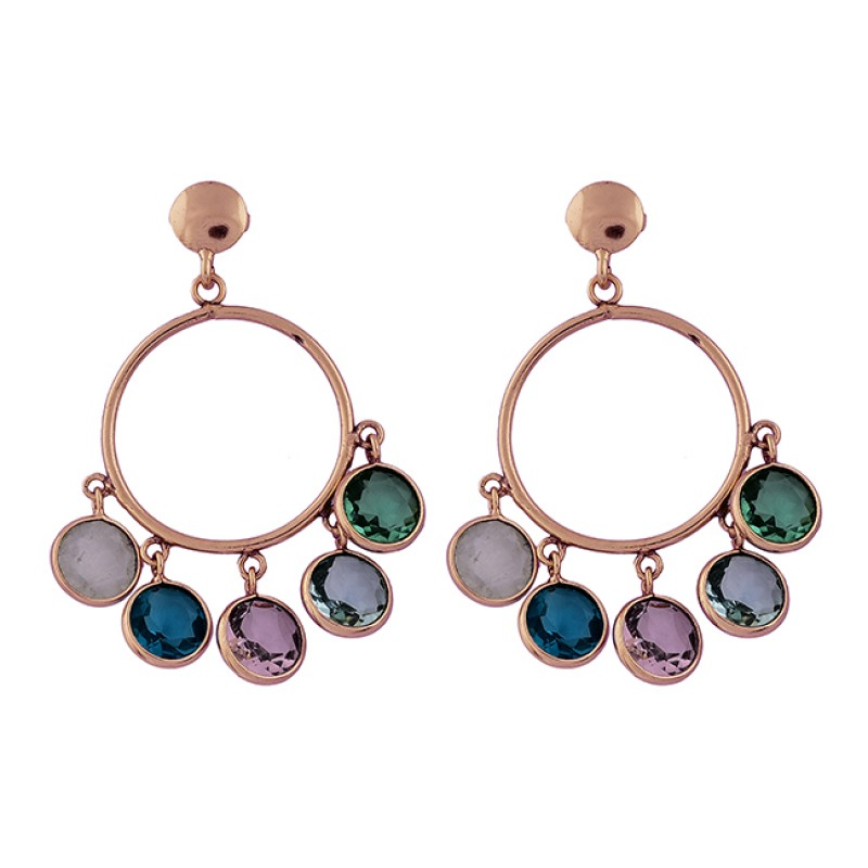Round Shape Multi Color Gemstone 925 Sterling Silver Gold Plated Stud Earrings