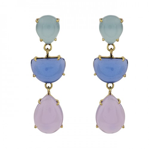 Prong Setting Chalcedony Gemstone 925 Sterling Silver Gold Plated Stud Earrings