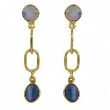 Moonstone Blue Kyanite Oval Shape Gemstone 925 Silver Gold Plated Earrings