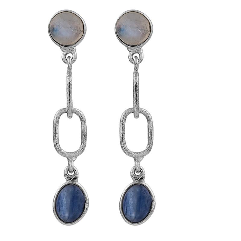 Moonstone Blue Kyanite Oval Shape Gemstone 925 Silver Gold Plated Earrings