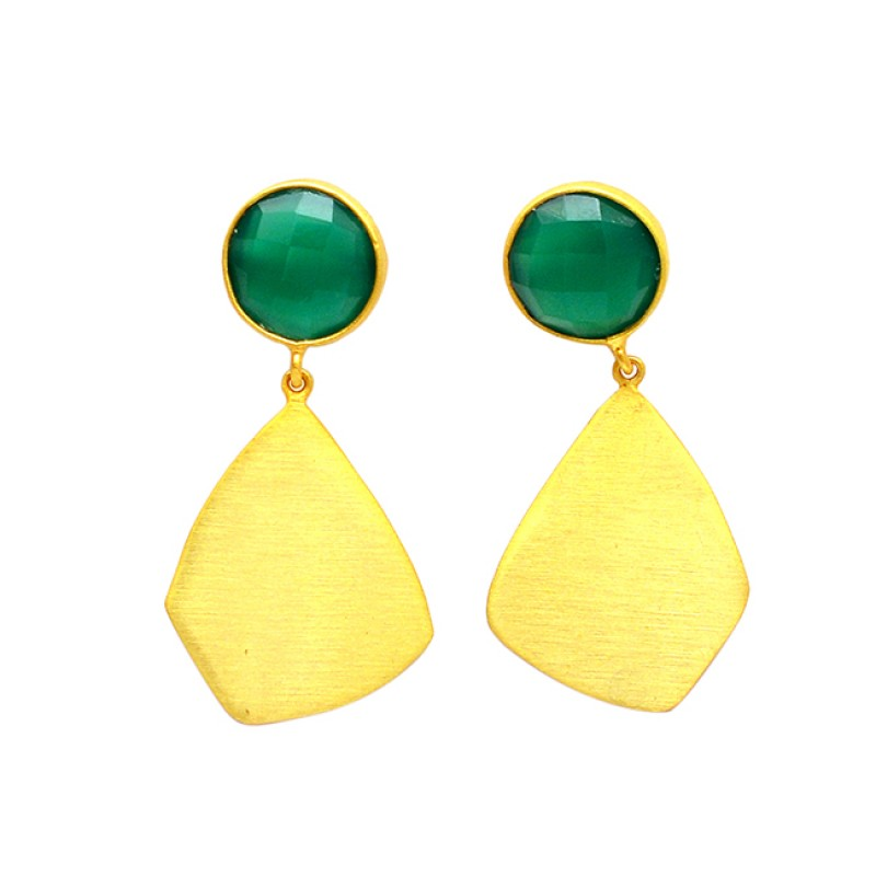 Handcrafted Green Onyx Round Shape Gemstone 925 Sterling Silver Gold Plated Dangle Stud Earrings