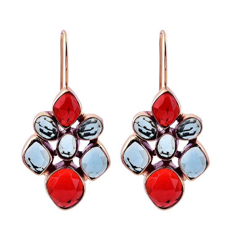 Fanta Blue Color Quartz Gemstone 925 Sterling Silver Gold Plated Dangle Earrings