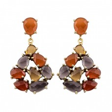 Carnelian Citrine Smoky Quartz Gemstone 925 Silver Gold Plated Stud Earrings