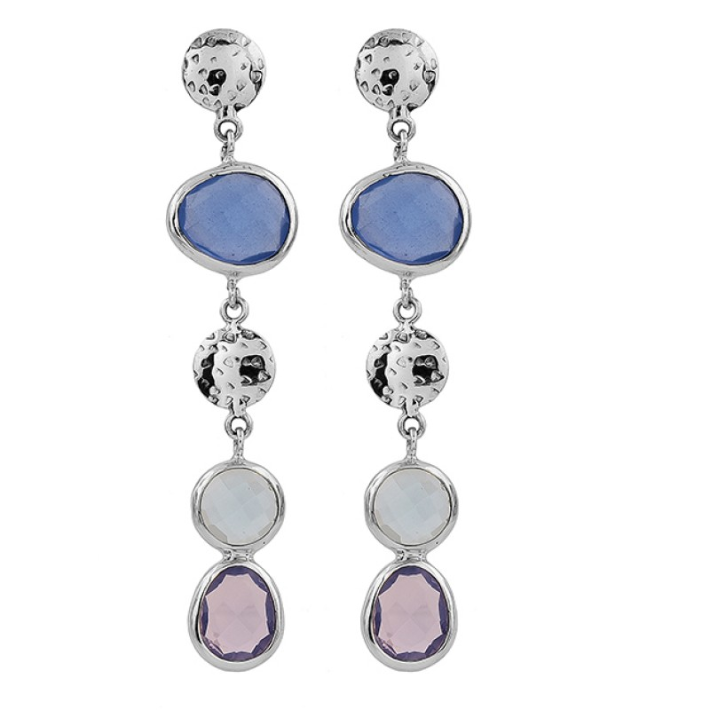 Amethyst Chalcedony Gemstone 925 Sterling Silver Gold Plated Stud Earrings