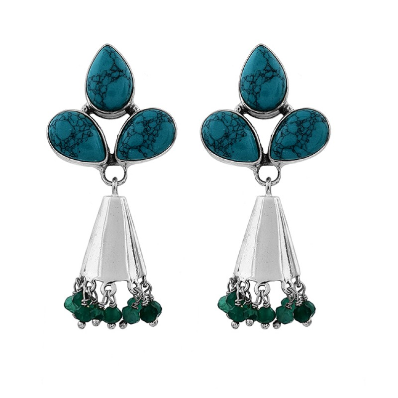 Turquoise Green Onyx Gemstone 925 Sterling Silver Gold Plated Stud Earrings