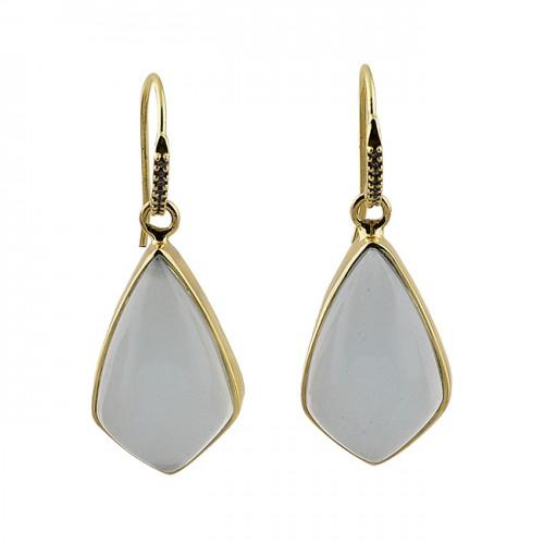 Fancy Shape Aqua Chalcedoy Gemstone 925 Sterling Silver Gold Plated Earrings