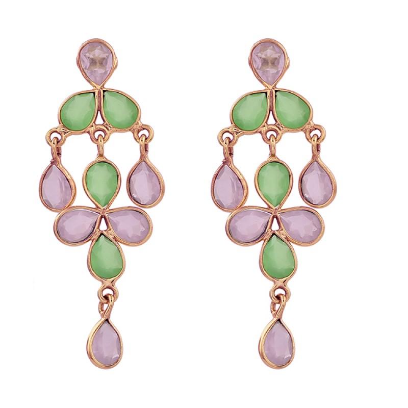 925 Sterling Silver Chalcedony Quartz Gemstone Gold Plated Stud Dangle Earrings