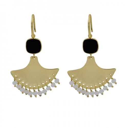 Black Onyx Gemstoen 925 Sterling Silver Gold Plated Handmade Earrings