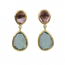 Amethyst Aquamarine Gemstone 925 Sterling Silver Gold Plated Stud Earrings