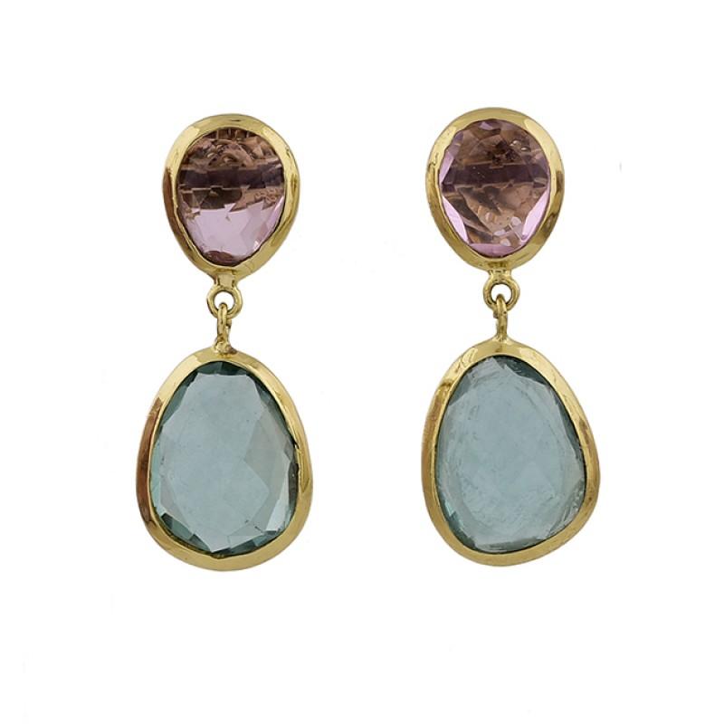 Amethyst Aquamarine Gemstone 925 Sterling Silver Gold Plated Stud Earrings