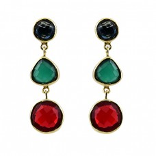 925 Sterling Silver Onyx Quartz Gemstone Gold Plated Stud Dangle Earrings