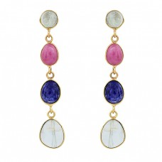 Aquamarine Ruby Sapphire Gemstone 925 Sterling Silver Gold Plated Earrings