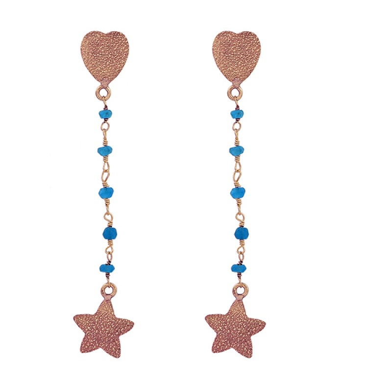 Roundel Beads Shape Apatite Gemstone 925 Sterling Silver Gold Plated Earrings