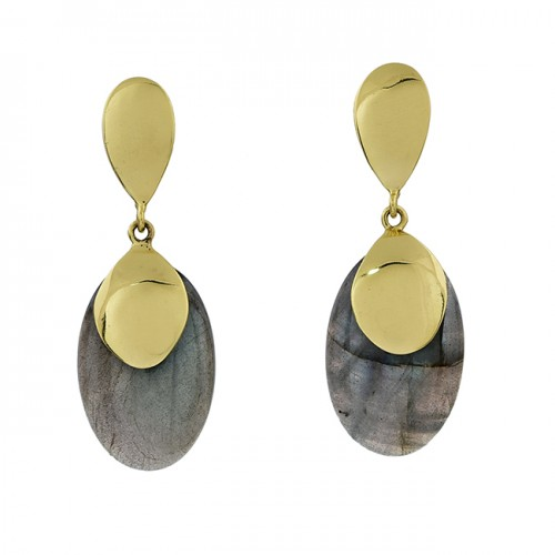 Labradorite Oval Shape Gemstone 925 Sterling Silver Gold Plated Stud Earrings
