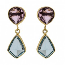 Amethyst Blue Topaz Gemstone 925 Sterling Silver Gold Plated Stud Earrings