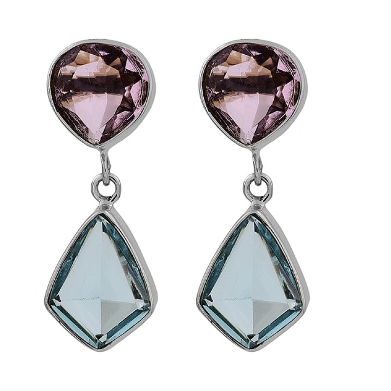 Amethyst Blue Topaz Gemstone 925 Sterling Silver Gold Plated Stud Earrings