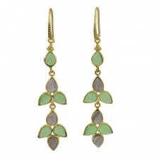Labradorite Chalcedony Gemstone 925 Sterling Silver Gold Plated Earrings