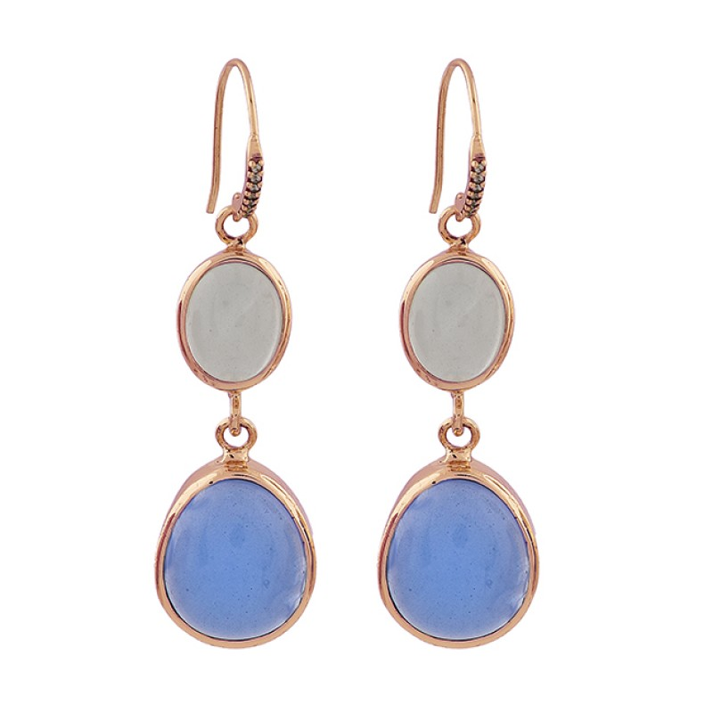 925 Sterling Silver Moonstone Chalcedony Gemstone Gold Plated Dangle Earrings