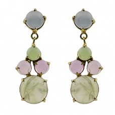 Prong Setting Chalcedony Gemstone 925 Sterling Silver Gold Plated Earrings