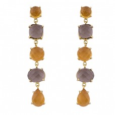 Citrine Smoky Quartz Gemstone 925 Sterling Silver Gold Plated Stud Earrings