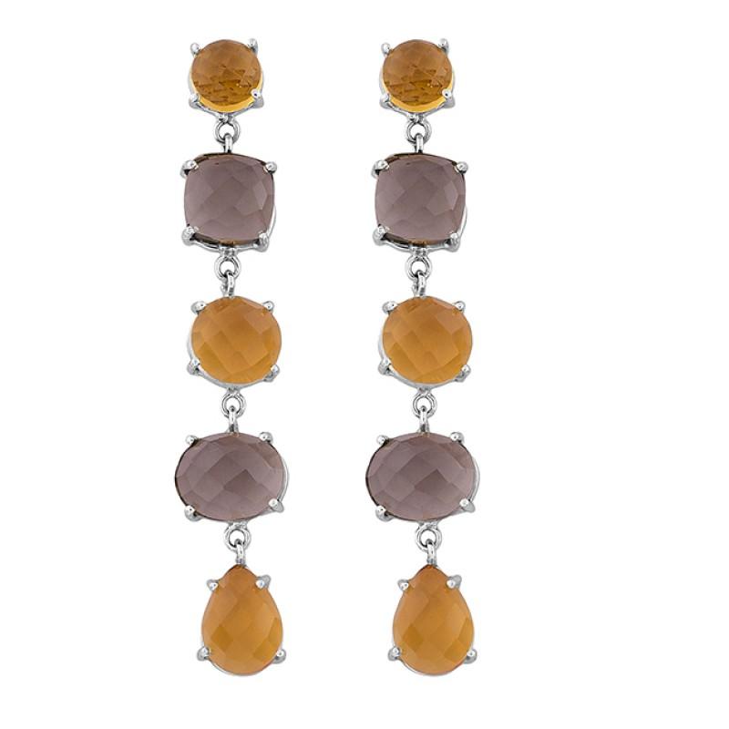 Citrine Smoky Quartz Gemstone 925 Sterling Silver Gold Plated Stud Earrings