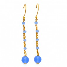 Designer Hanging Chain Dangle Earrings Blue Chalcedony Gemstone 925 Silver Gold Plated Jewelry