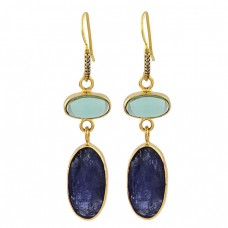 Moonstone Lapis Lazuli Gemstone 925 Sterling Silver Gold Plated Dangle Earrings