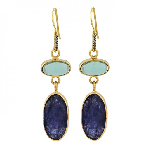 Moonstone Lapis Lazuli Gemstone 925 Sterling Silver Gold Plated Dangle Earrings