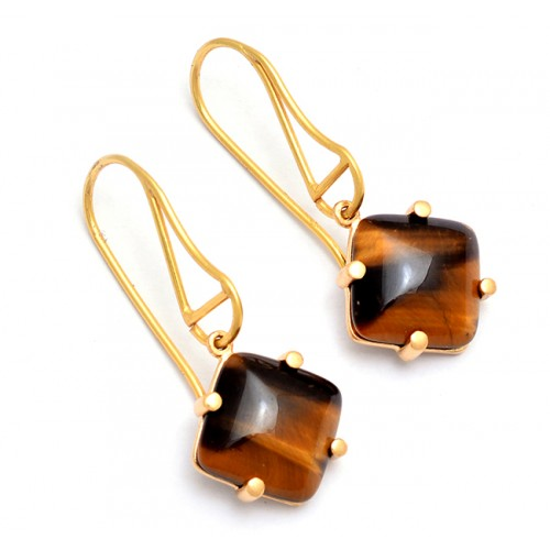 Square Shape Tiger Eye Gemstone 925 Sterling Silver Gold Plated Earrings