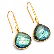 Heart Shape Labradorite Gemstone 925 Sterling Silver Gold Plated Earrings