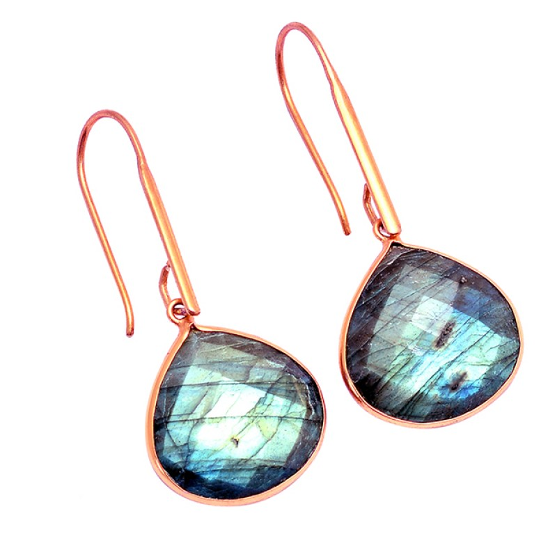 Heart Shape Labradorite Gemstone 925 Sterling Silver Gold Plated Earrings