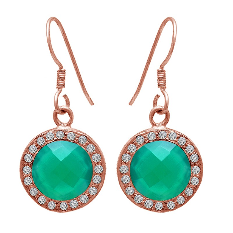 Green Onyx Cubic Zirconia Gemstone 925 Sterling Silver Dangle Earrings