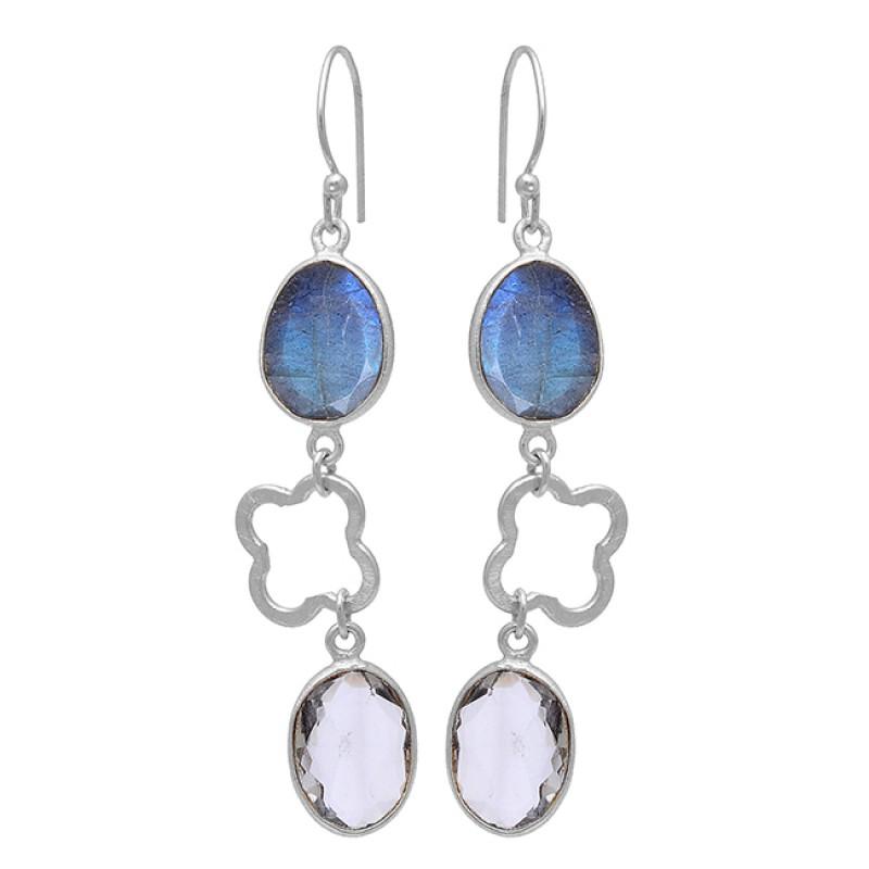 Labradorite Smoky Quartz Gemstone 925 Sterling Silver Gold Plated Earrings
