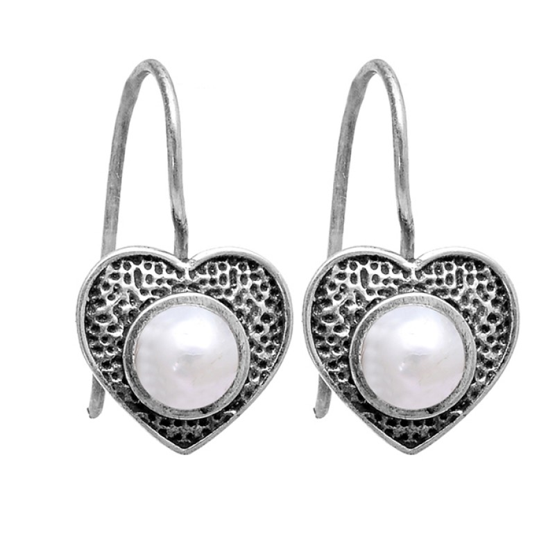 Cabochon Round Shape Pearl Gemstone 925 Sterling Silver Black Oxidized Earrings