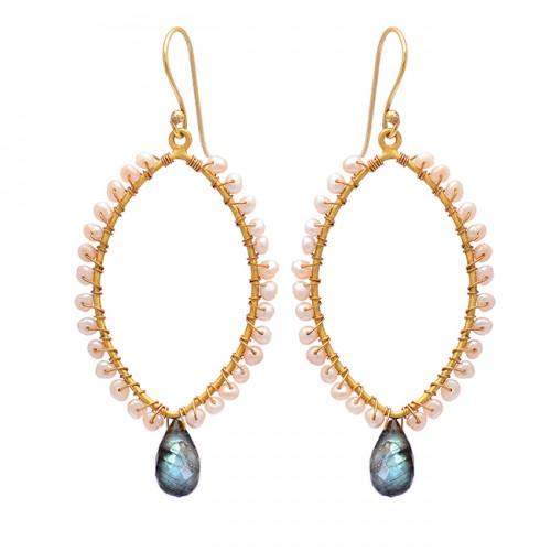Labradorite Pearl Gemstone 925 Sterling Silver Gold Plated Dangle Earrings