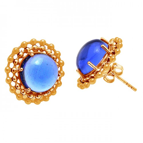 Cabochon Round Shape Tanzanite Gemstone 925 Silver Gold Plated Stud Earrings